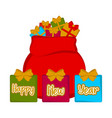 christmas present sack happy new year vector image vector image