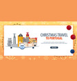 christmas travel to portugal winter travel vector image