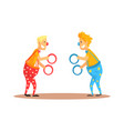 clowns juggling with rings on a circus show vector image vector image