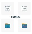 coding icon set four elements in diferent styles vector image vector image