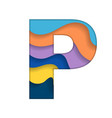 colorful letter p vector image vector image