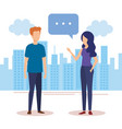 couple talking with speech bubbles in the city vector image