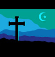 crucifix star and moon vector image