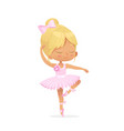 cute bagirl ballerina dance isolated pink dress vector image vector image