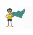 cute kid happy boy wearing a hero mask and cloak vector image vector image