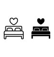 double bed line and glyph icon lovers bed vector image vector image