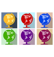 Earth globe flat icon set vector image