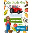 farmer agronomist agriculture and cattle farm vector image