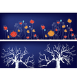 Floral banners with trees and grass vector image vector image
