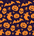 funny seamless pattern with silhouette of pumpkin vector image