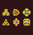 golden celtic symbols with gems cartoon set vector image