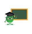 green apple standing near blackboard