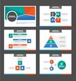 Green Orange blue presentation templates set vector image