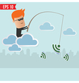 Hacker sniff wireless network Fishing Concept vector image