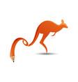 kangaroo wtih pencil tail logo icon design vector image vector image