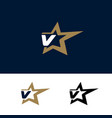 letter v logo template with star design element vector image vector image