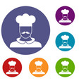 male chef cook icons set vector image vector image