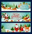 merry christmas santa greeting banners vector image vector image
