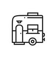 mobile trailer line icon camping caravan trailer vector image