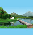 mountain landscape with house near the lake vector image vector image