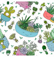 pattern with cute cartoon succulents cactus vector image