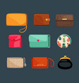 purses and cosmetic bags set red glamorous vector image vector image