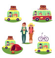 road trip camping people travelling by car bus vector image