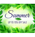sale poster background with green leaves vector image