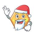 santa hexagon mascot cartoon style vector image