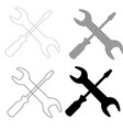 screwdriver and wrench the black and grey color vector image