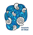 sea shell on blue waves vector image vector image