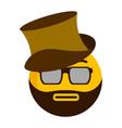 serious emoji with a gentleman hat vector image vector image