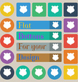 shield icon sign Set of twenty colored flat round vector image