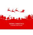silhouette santa claus flies a reindeer sleigh vector image