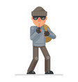 stole bag money silence finger evil greedily thief vector image