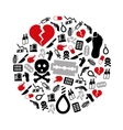 suicide icons in circle vector image