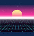 synth wave retro grid background synthwave 80s vector image vector image