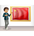 The flag of China presented by a man vector image vector image