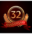 Thirty two years anniversary celebration with vector image vector image