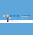 three star rating arab man giving feedback concept vector image