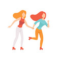 two beautiful women friends rollerblading holding vector image