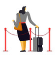 woman with suitcase and purse behind fence vector image
