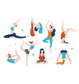 women doing yoga in different poses flat vector image vector image