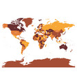 world map in four shades of brown on white vector image vector image