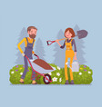 young gardeners working vector image vector image
