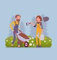 young gardeners working vector image
