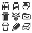 milk icons set vector image