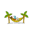 Side view of boy sitting in swing vector image