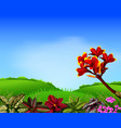 a fresh view with mountain and frangipani flower vector image