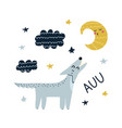 auu print with cute wolf howling at moon vector image vector image
